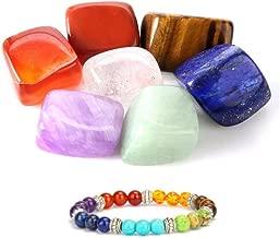 Healthcom 7 Chakra Reiki Healing Crystals Yoga Balance Irregular Shape Polished Tumbled Palm Stones with 7 Chakra Healing Crystal Bracelet Therapy Stretch Stone for Meditation Reiki Healing Balancing