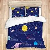 Funda nórdica, sistema solar Planetas Estrellas Galaxia lechosa Espacio Astronómico Sol Mercurio Venus Tierra Marte Júpiter Saturno Urano Neptuno Nebulosa del cosmos, Juego de cama de calidad Suavidad