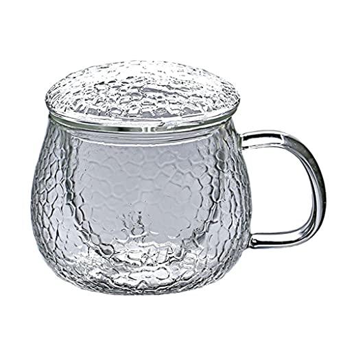 Taza del Hogar 400ml, Taza De Agua De Cristal, Taza De Café con Estilo, Taza De Té Taza Saludable Estilo JaponéS Creativo, Resistente Al Calor, con Cubierta (Size : 400ml)