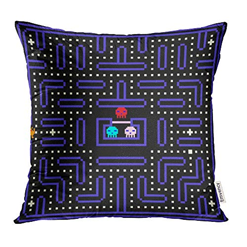 Emvency Decorative Throw Pillow Case Cushion Cover Geek 8 Bit Pixel Retro Arcade Game Old Video Design 80S Classic Robot Monster 18x18 Inch Cases Square Pillowcases Covers for Sofa Two Sides Print