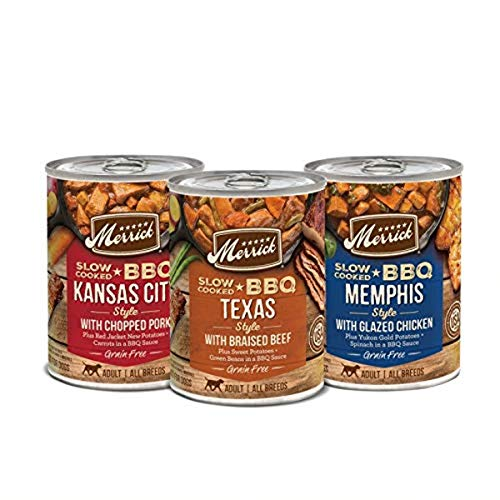 Merrick Grain Free Wet Dog Food Slow Cooked BBQ Variety Pack - 12.7 oz Cans Case of 12