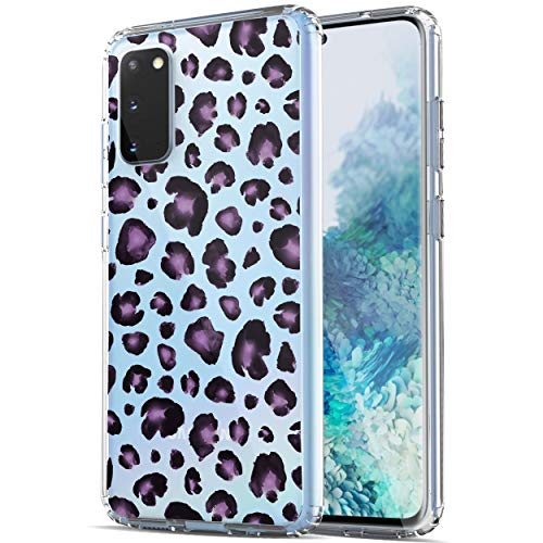 Galaxy S20 Case, RANZ Anti-Scratch Shockproof Series Clear Hard PC+ TPU Bumper Protective Cover Case for Samsung Galaxy S20 (6.2 inch) [Does NOT fit S20 FE] - Purple Leopard