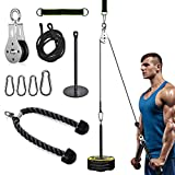Fitness Pulley Cable System Machine with Triceps Rope for Home Gyms DIY Garage Arm Forearm Muscle Strength Training Equipment for LAT Pulldowns, Biceps Curl, Triceps Extensions Workout (Triceps Rope)