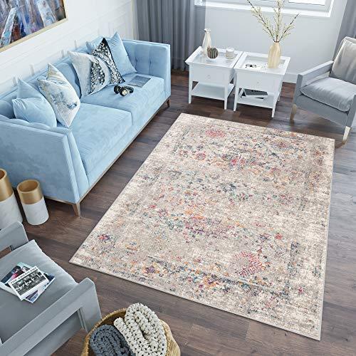 Tapiso Lazur Alfombra de Salón Dormitorio Juvenil Diseño Moderno Gris Azul Rojo Vintage Geométrico Friso 200 x 290 cm