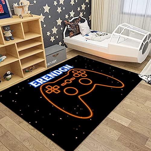 Consola De Juegos 3D Impresión De La Manija De La Sala De Estar Alfombra Dormitorio Esteras De Noche Alfombras De Puerta Antideslizantes De Doble Espesor Alfombra Lavable para Mascotas