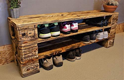 Schuhregal Holz vintage aus Paletten Schuhschrank aus Europaletten Ablage Garderobe vintage...