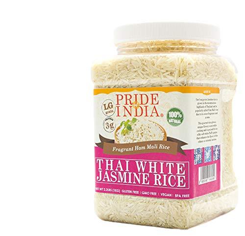 Pride Of India - Thai White Jasmine Rice - Fragrant Hom Mali Rice, 3.3 Pound (1.5 Kilo) Jar (2.2 Pound + Extra 50% Free = 3.3 Pounds Total)