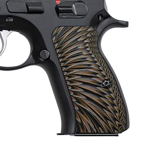 Cool Hand G10 Grips for CZ 75/85 Compact, CZ P-01, P100, C100, T100, PCR, CZ 75 D, Gun Grips Screws Included, Sunburst Texture (Coyote)