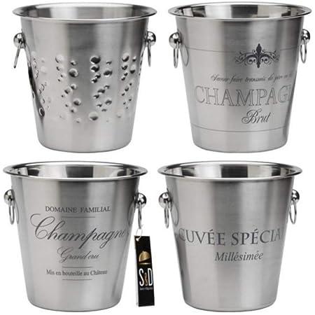 Saveur & Dégustation KV7014 Seau à Champagne, Acier Inoxydable, Gris, 22,4 x 22,4 x 21 cm