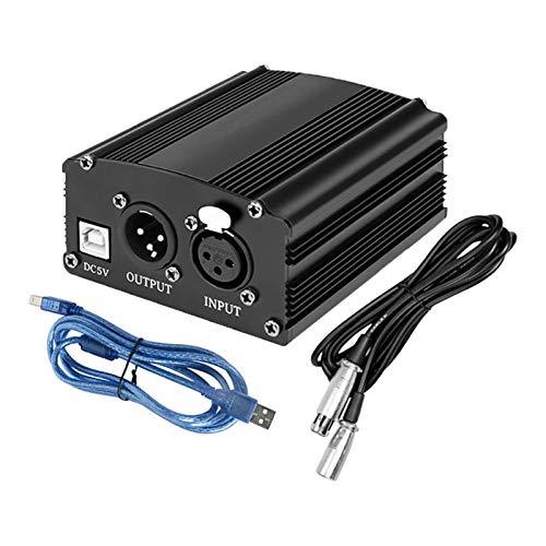 lahomia Fuente de alimentación Phantom 48V del micrófono con el Cable de Audio XLR del adaptador y el Cable USB para el Micro micrófono del condensador - Negro