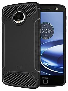 Moto Z Force / Moto Z Force Droid Case TUDIA Carbon Fiber Design Lightweight [TAMM] TPU Bumper Shock Absorption Case for Motorola Moto Z Force  Black