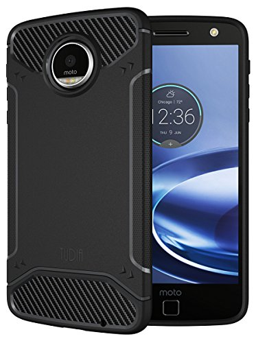 Moto Z Force / Moto Z Force Droid Case, TUDIA Carbon Fiber Design Lightweight [TAMM] TPU Bumper Shock Absorption Case for Motorola Moto Z Force (Black)