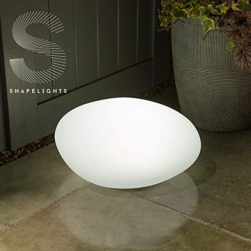 Shapelights Indoor & Outdoor USB Chargeable Solar Powered Colour Changing Mood Light - Pebble 40cm