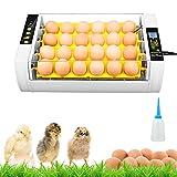 Incubadora de 24 huevos, totalmente automática, incubadora de gallinas, incubadora inteligente con LED de temperatura y regulación de la humedad