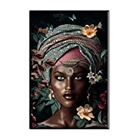 African Women Flowers Canvas Painting On The Wall Abstract Girls Posters and Prints Wall Art Pictures for Living room Home Decor(No Frame)