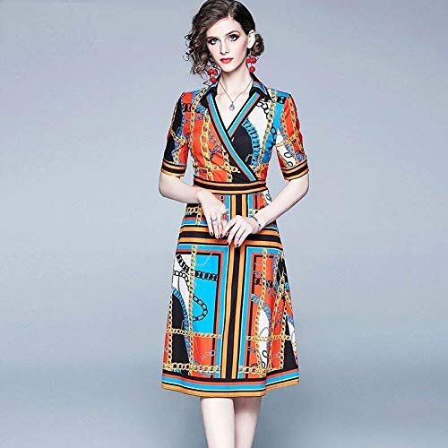 QUNLIANYI Bendkleid Tüll Lang Vintage Chain Print V-Ausschnitt Cross Runway Kleid Frauen Elegante...