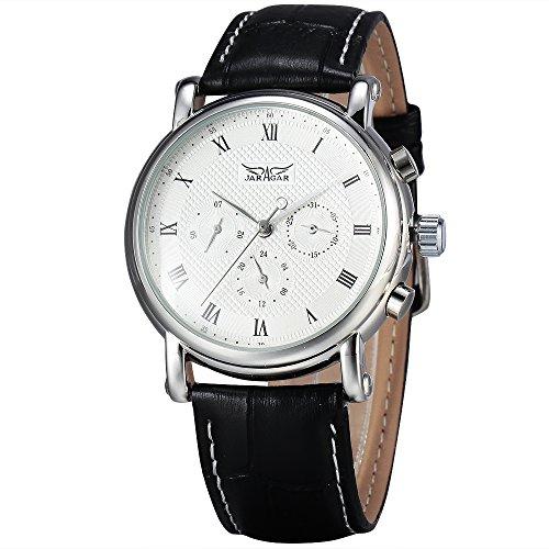 JARAGAR de los Hombres 6Manos Simple Dial Automático Mecánico Reloj de Cuarzo Reloj de Pulsera Banda de Cuero Negro