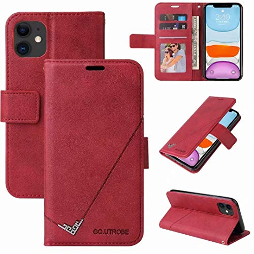 Ufgoszvp Xiaomi Redmi 9C Case, Shock-Absorption PU Leather Wallet Cases with Kickstand Card Slots Magnetic Slim Fit Flip Notebook Shockproof Bumper Protective Phone Case for Xiaomi Redmi 9C red