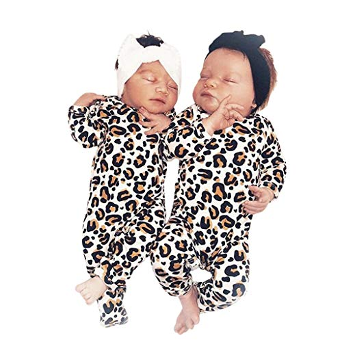 0-12Months,SO-buts Newborn Infant Baby Girl Boy Long Sleeve Leopard Print Clothes Romper Jumpsuit Outfits (Multicolor,0-6 Months)