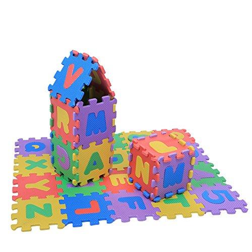 Alfombrilla Puzzle para Niños, 36 Piezas Alfombrilla de Espuma Suave, Almohadillas de Juego para Números Y Letras, Alfombrillas para Bebés, Niños