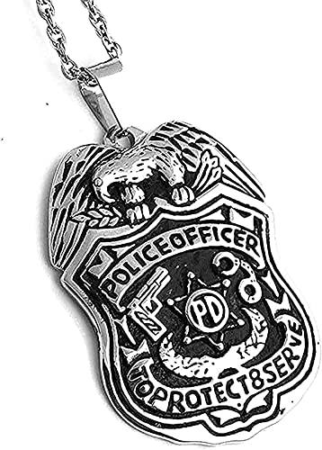 Yiffshunl Collar Collar de Moda para Hombre Collar de Acero Inoxidable Escudo protección Superior Oficial de policía Collar Colgante Regalo para Mujeres Hombres Regalos