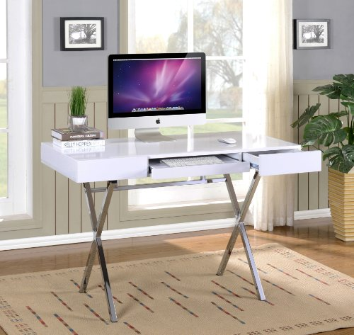 kings furniture pc brands Kings Brand Furniture Contemporary Style Home & Office Desk, White/Chrome