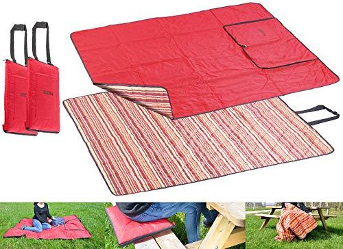 PEARL Strandmatte: 2er-Set 3in1-Multi-Picknickdecken mit Sitzkissen & Zudecke, 150x130 cm (Picknickdecke maschinenwaschbar)