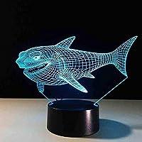家の装飾のための7色のライトが付いている3d導かれた常夜灯サメ子供のおもちゃのギフトのリモコンのための3dランプ