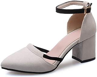 BalaMasa Womens ASL06346 Pu Block Heels