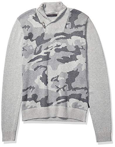 Sean John Men's Shawl Neck Sweater, ash Camo, M
