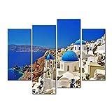 WTD - Lienzo decorativo para pared, diseño de iglesias de la isla de Santorini de Grecia, cúpulas azules de la caldera del mar Egeo, 4 piezas, moderno giclée estirado y enmarcado
