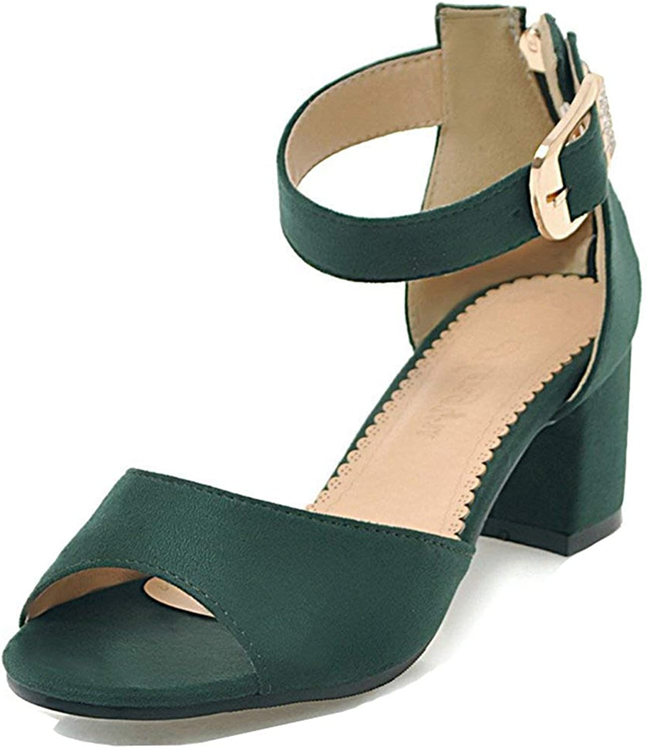 Unm Women's Comfort Fringed Sandals with Ankle Strap - Peep Toe Buckled - Zipper Mid Chunky Heels