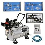 ZENY 1/5HP Multi-Purpose Pro Airbrushing Compressor Kit System w/ 3 Airbrushes, 6' Air Hose & Airbrush Holder, Manual
