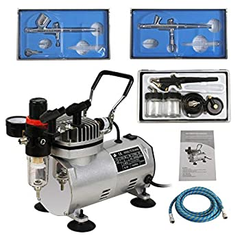 ZENY 1/5HP Multi-Purpose Pro Air Compressor Kit w/3 Airbrushes 6ft Air Hose for Painting Hobby Drafting Portable Airbrush Paint Set