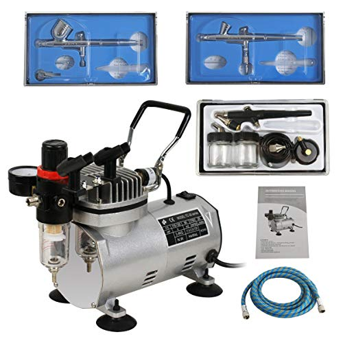 ZENY 1/5HP Multi-Purpose Pro Airbrushing Compressor Kit System w/ 3 Airbrushes, 6' Air Hose & Airbrush Holder, Manual