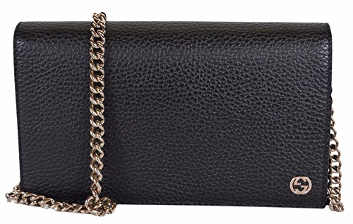 Gucci Women's Leather Interlocking GG Crossbody Wallet Purse (466506/Black)