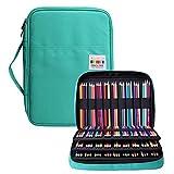 BOMKEE Astuccio portapenne con 220 scomparti impermeabile borsa matite colorate con cerniera per studenti, bambini, adulti, artisti, penne gel glitterate, ricariche (Verde)