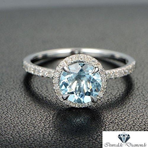 Amazon Com 14k Round Cut Aquamarine Diamond Pave Halo Engagement Ring Solitaire Handmade