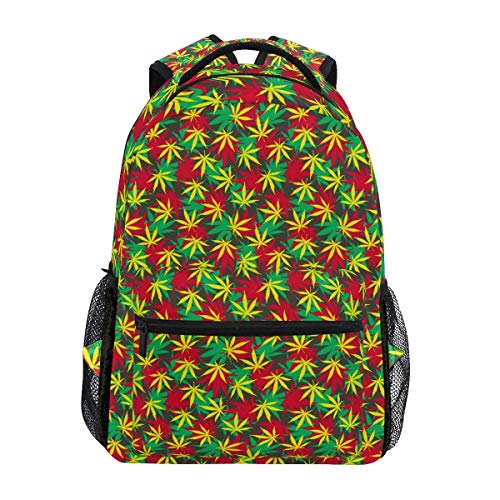 Elizabeth Henry Ganja Weed Pattern Backpacks College School Book Bag Travel Hiking Camping Daypack