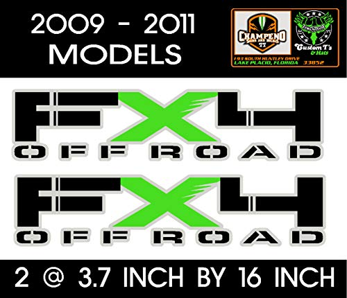 6 to 8 Year Outdoor Life Set of two Metallic Silver, Black and Lime Green 2009 - 2010 - 2011 - 2012 FX4 Off Road Ford F-150 / F-250 / F-350 / Decal / Sticker / Graphic / Truck Bed Side.
