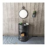Mueble De Lavabo Retro De Hierro Forjado, Lavamanos Baño Tambor De Aceite, Fregadero De Pedestal De Una Pieza Decoración Del Hogar Con Combinación(Size:Lavabo de columna + espejo,Color:Plata Vintage)