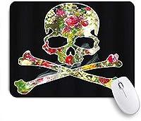 KAPANOUマウスパッド ハロウィーンのビジュアルアートの頭蓋骨と花 ゲーミング オフィス おしゃれ 防水 耐久性が良い 滑り止めゴム底 ゲーミングなど適用 マウス 用ノートブックコンピュータマウスマット