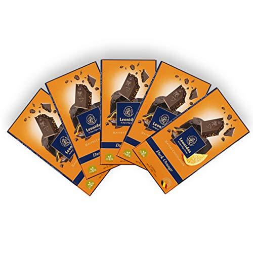 Leonidas Tablet Schokoladentafeln | 5x 100g Tafeln aus verschiedenen Sorten feinster belgischer Schokoladen-Kreationen, ideal als Geschenk oder zum Selbernaschen (Dark Orange)