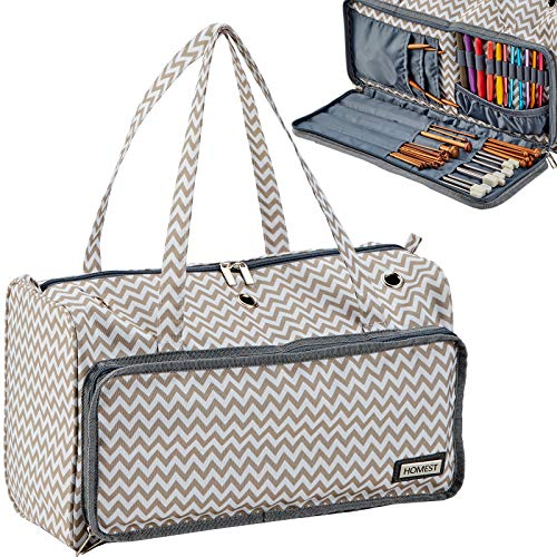 HOMEST Portable Knitting Tote Bag, Yarn Storage Organizer for Yarn and Knitting Needles, Crochet Hooks and Other Accessories, with 3 Oversized Grommets, Ripple, (Patent Pending)
