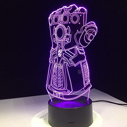 Thanos Infinity War Hollywood Superhero Gloves 3D Night light LED cambio de color Novedad Lámpara de escritorio Decoración de regalo