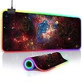 O'woda Alfombrilla de Ratón RGB Extra Grande - Cielo Estrellado,800 * 300 * 4 mm - Base de Goma Antideslizante,Lavable,Mouse Pad para Videojuegos, Gamers Ordenador, PC y Laptop