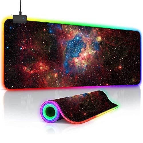 O'woda Tappetino Mouse Gaming RGB,Grande Taglia[ 800x300 mm ],Cielo Stellato,14 RGB Effetti,Impermeabile,Base in Gomma Antiscivolo e Superficie Liscio,Mouse Pad per Computer, PC e Laptop