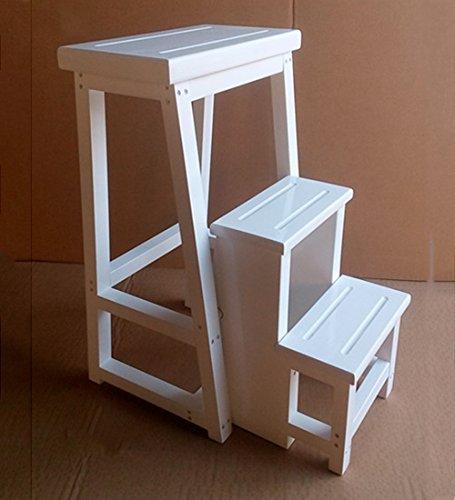 CAIJUN Klappbarer Leiterstuhl Volles Festes Holz Montage 4 Schritte Hocker Multifunktion Sessel rutschfest Aufsteigende Leiter 90cm Hoch Dual-Use Color : Walnut Color, Size : 90cm