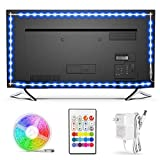 TV LED Backlight,Bason Strip Lights with Remote for 75-82in TV, 4096 DIY Color Changing Lights, SMD 5050 LEDs TV Bias Lighting with Power Supply, Upgraded, Ultra-Long, for HDTV.