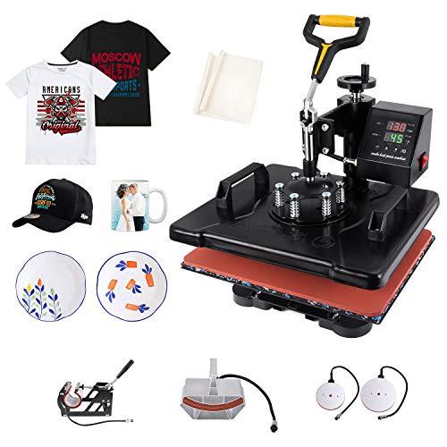 Slendor Heat Press 5 in 1 Heat Press 12x15 inch Machine 360-Degree Swing Away Digital Multifunction Sublimation Combo for T Shirts Mugs Hat Plate Cap